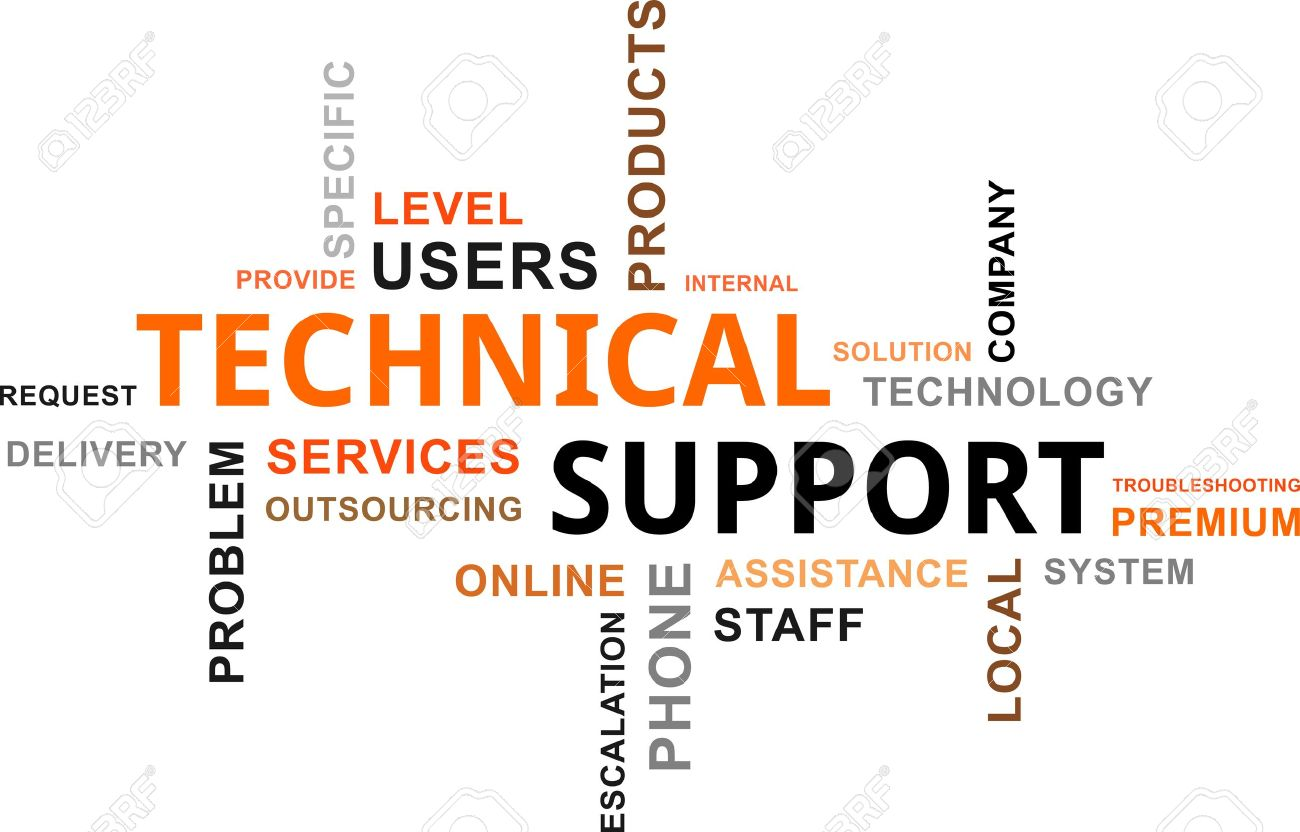 a word cloud of technical support related items royalty free