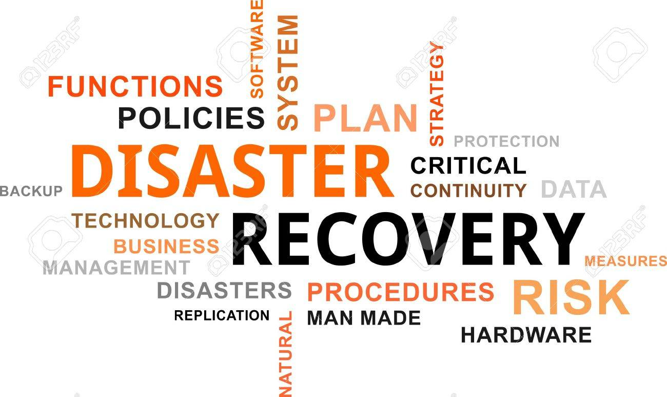 A word cloud of disaster recovery related items - 49137469