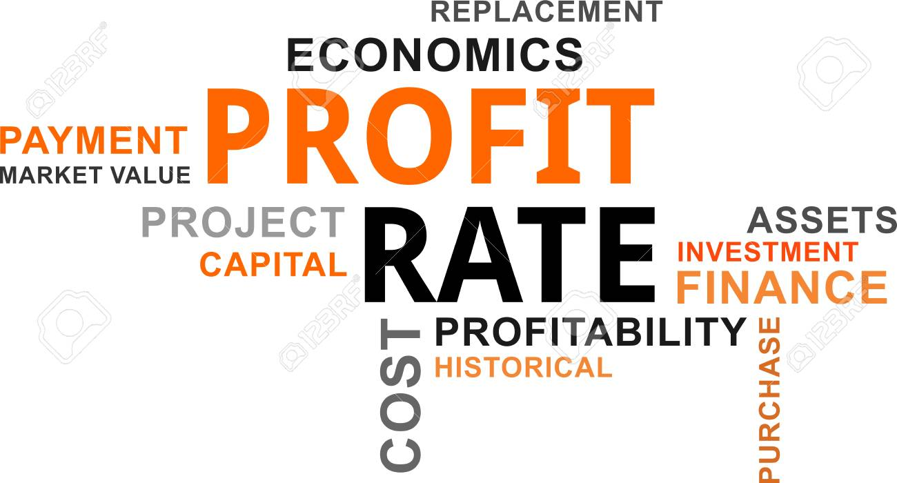 A word cloud of profit rate related items. - 88840143