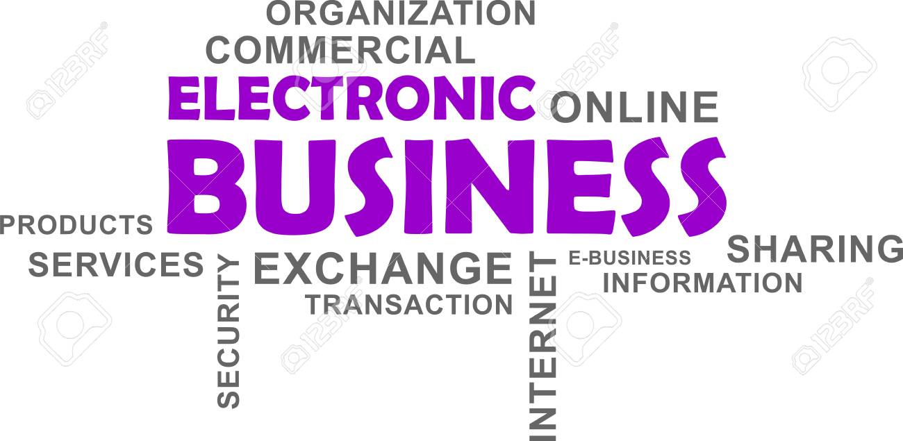 A word cloud of electronic business related items - 95389152