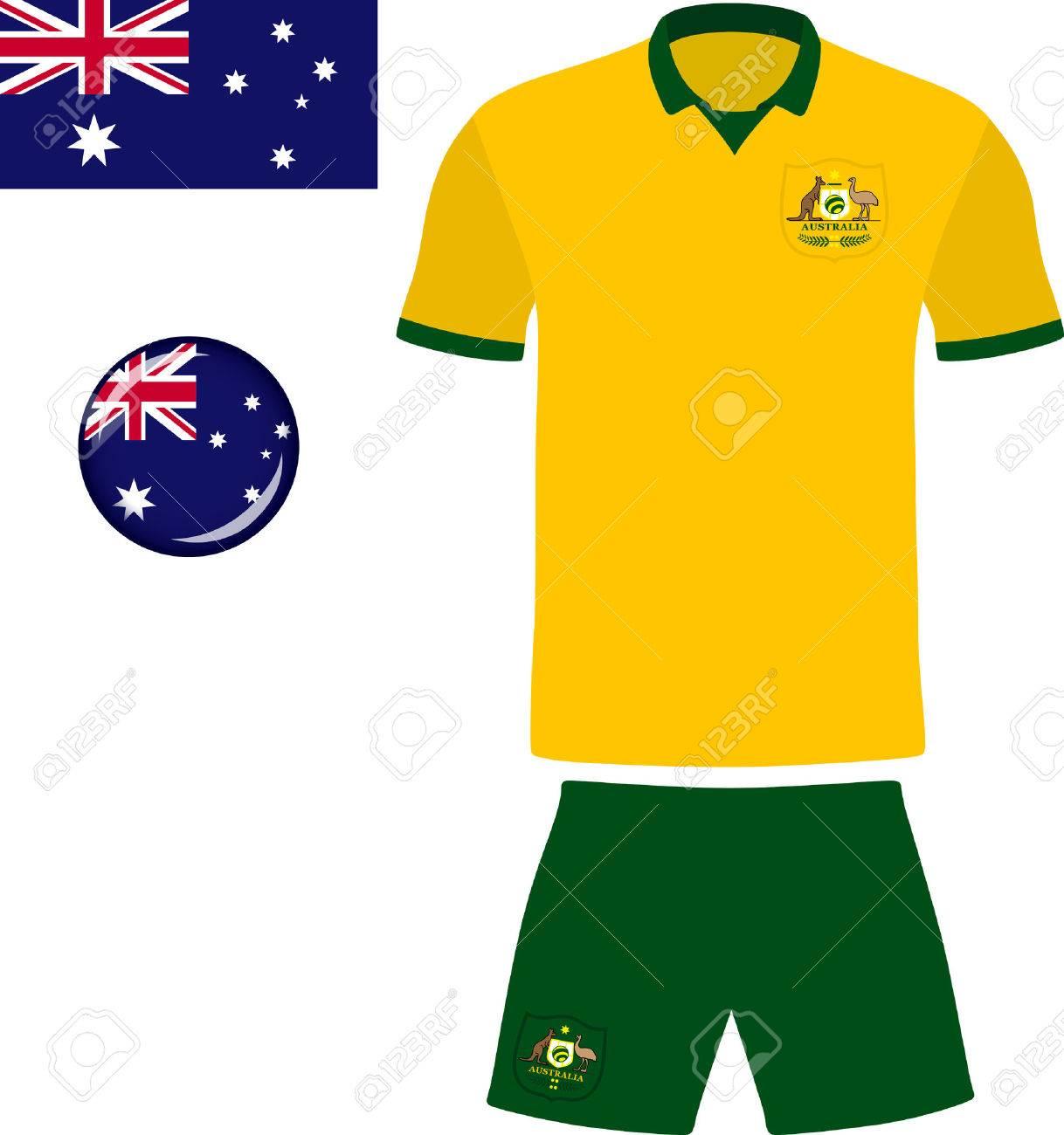 0e77172e47c Australia Football Jersey. Vector graphic illustration representing the national  football jersey of Australia. Stock