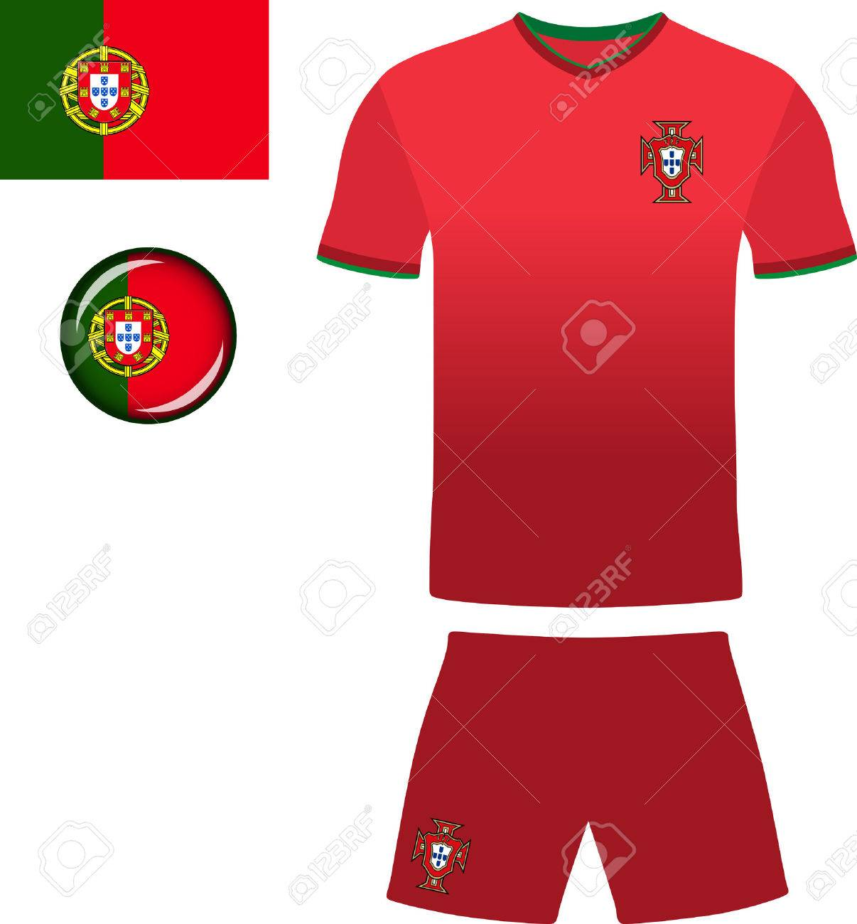 6e2a56234 Portugal Football Jersey. Vector graphic illustration representing the  national football jersey of Portugal. Stock