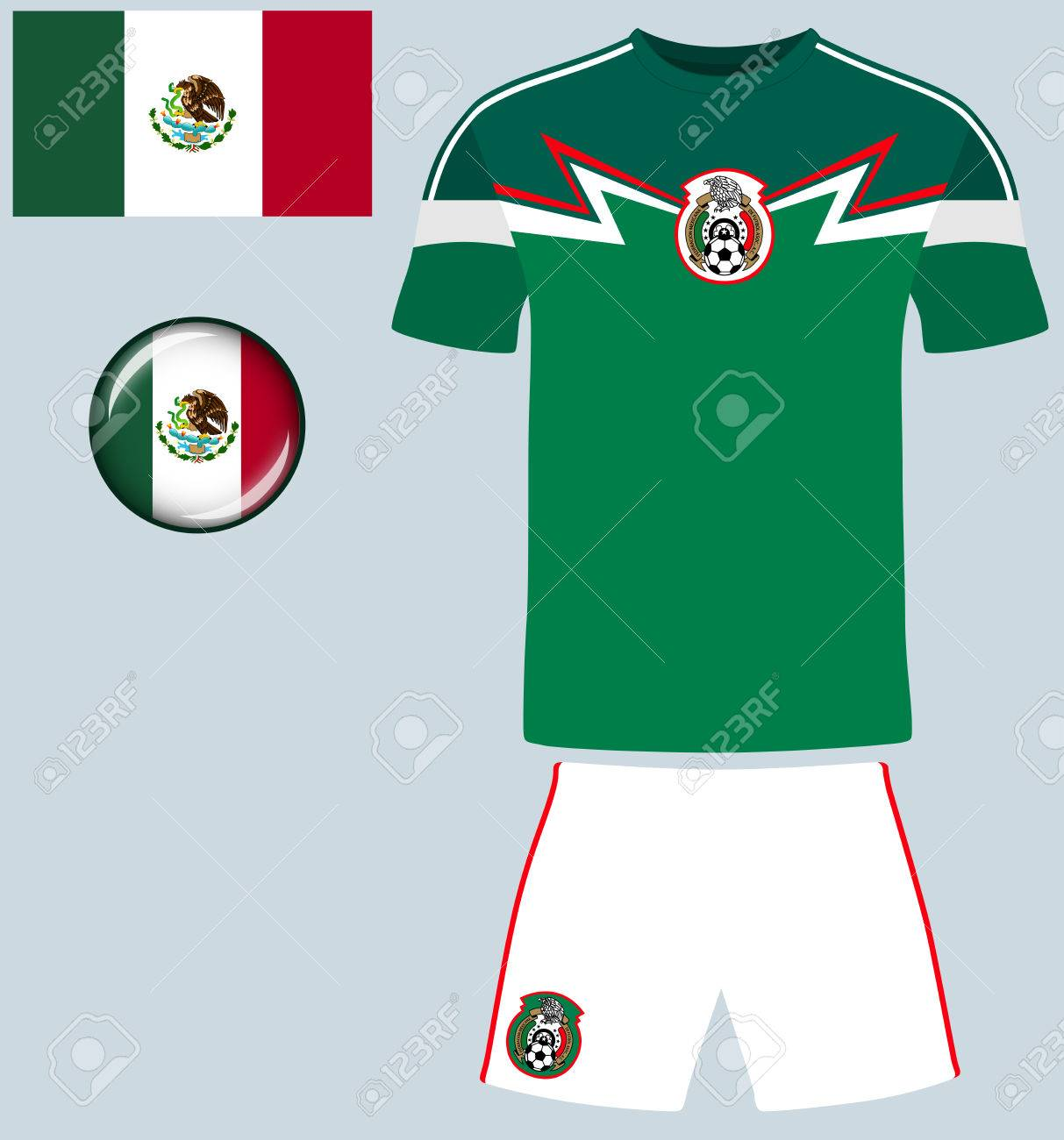 aac060f29c4 Mexico Football Jersey. Vector graphic illustration representing the  national football jersey of Mexico. Stock