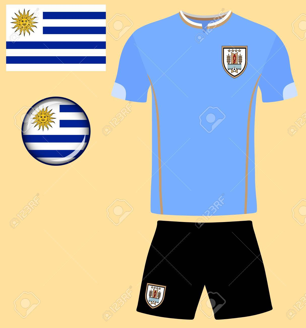 f93a8e438b9 Uruguay Football Jersey. Vector graphic illustration representing the national  football jersey of Uruguay. Stock
