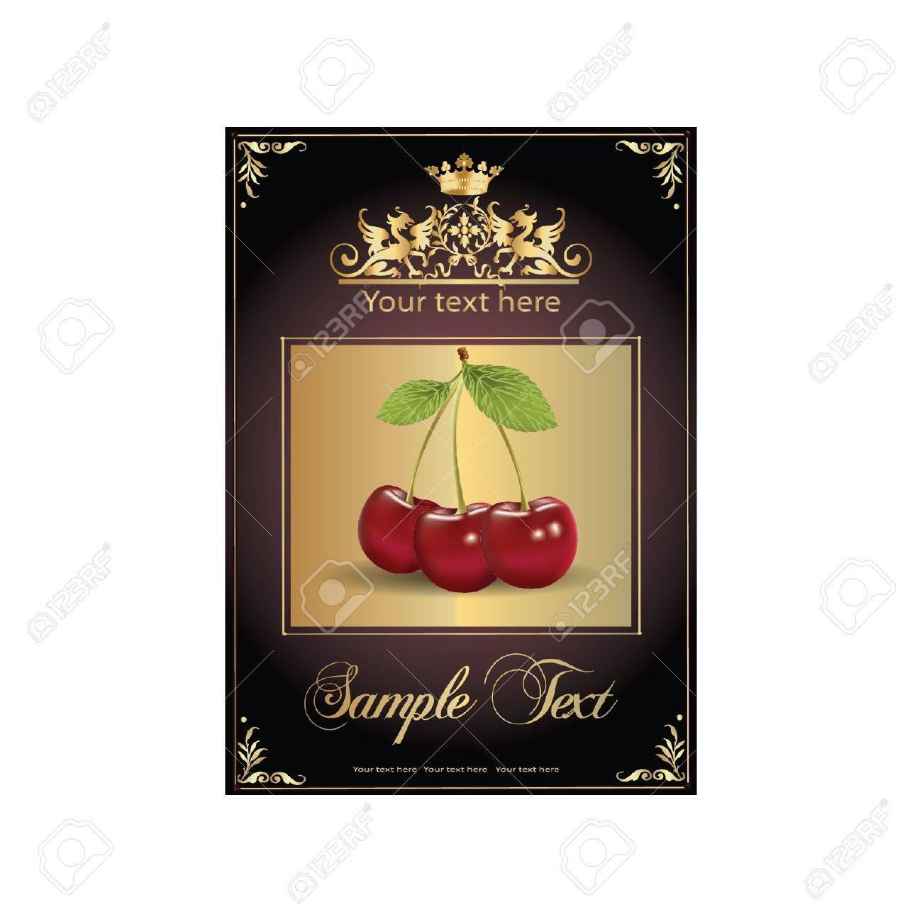 ripe, delicious cherries. beautiful label Stock Vector - 11142465