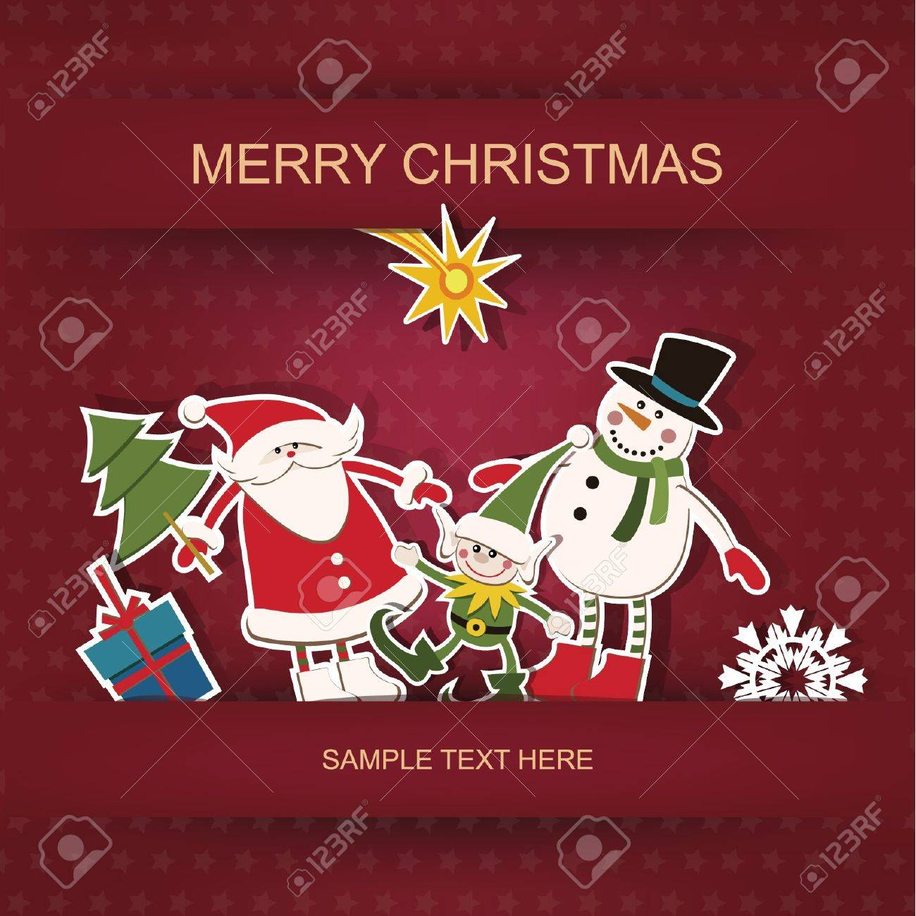 Christmas and New Year  Postcard and applique Stock Vector - 16135033