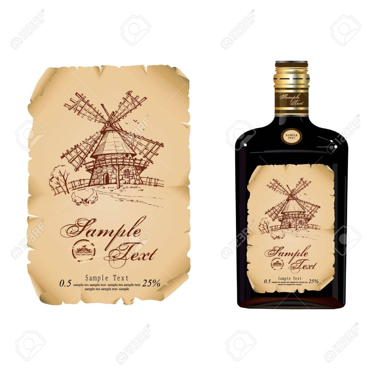 wine bottle label  realistic illustration Stock Vector - 16833491