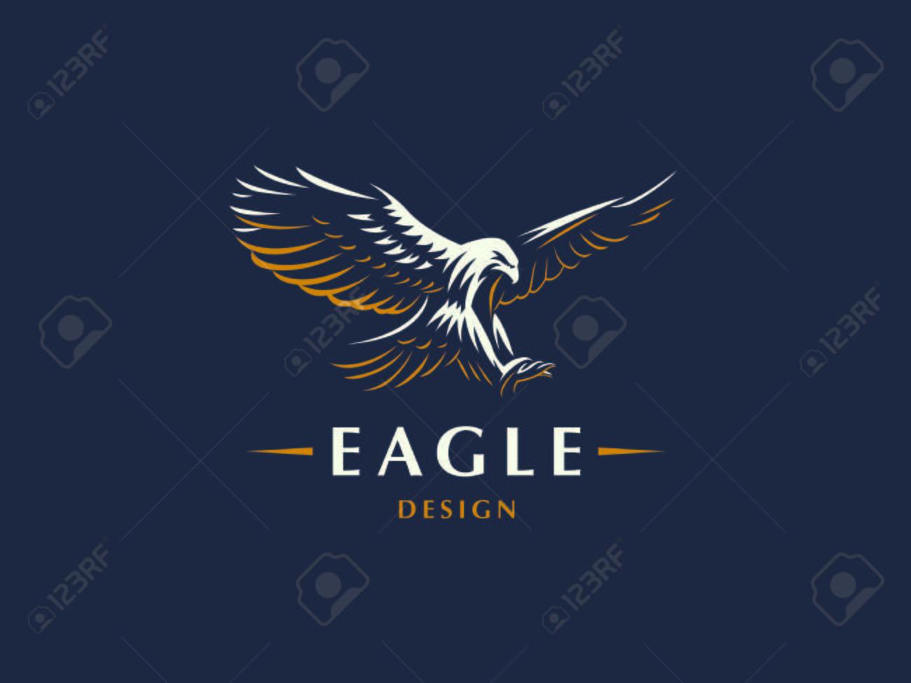 The flying eagle. Vector emblem. - 105442471