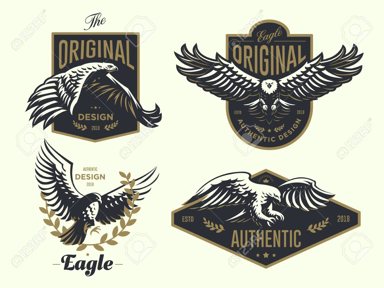 Set of the vintage logo with the eagle Vector illustration. - 107646032