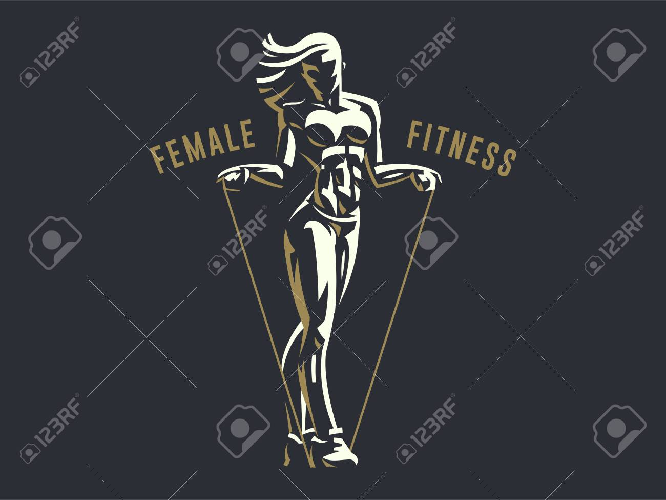 Sporty woman fitness emblem silhouette. Vector illustration. - 107598080