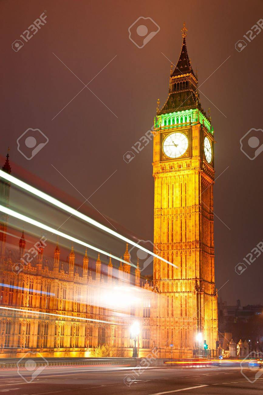 The Big Ben, the House of Parliament and the Westminster Bridge at night, London, UK. Stock Photo - 11860334