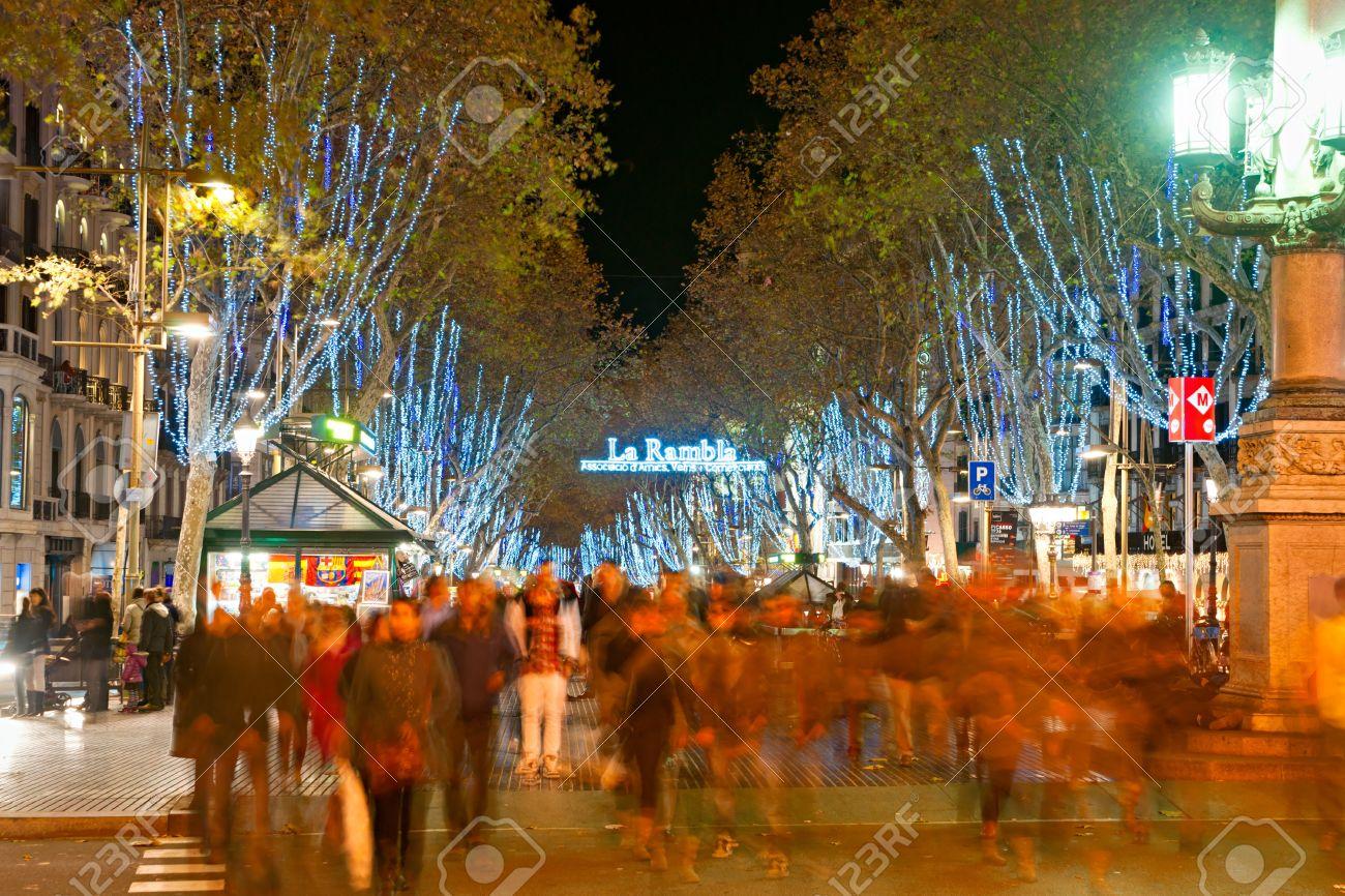 Night shot of La Rambla of Barcelona, Spain Stock Photo - 12877758