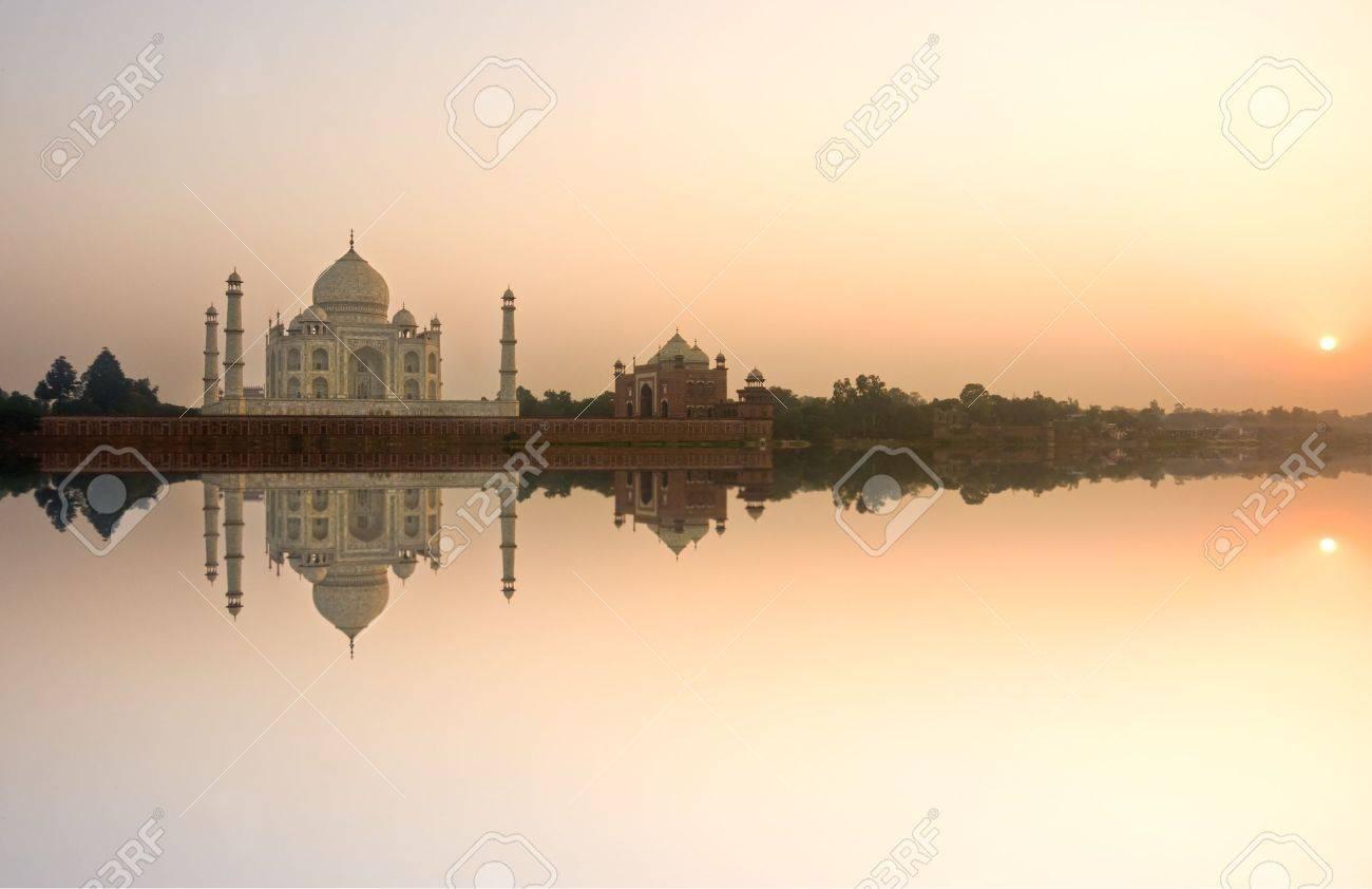 Panoramic view of Taj Mahal at sunset, Agra, Uttar Pradesh, India. Stock Photo - 12886148