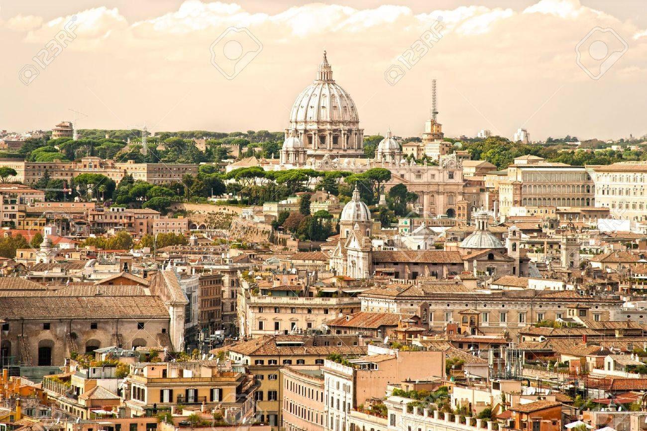 View of  San Peter basilica, Rome, Italy. Stock Photo - 12887533
