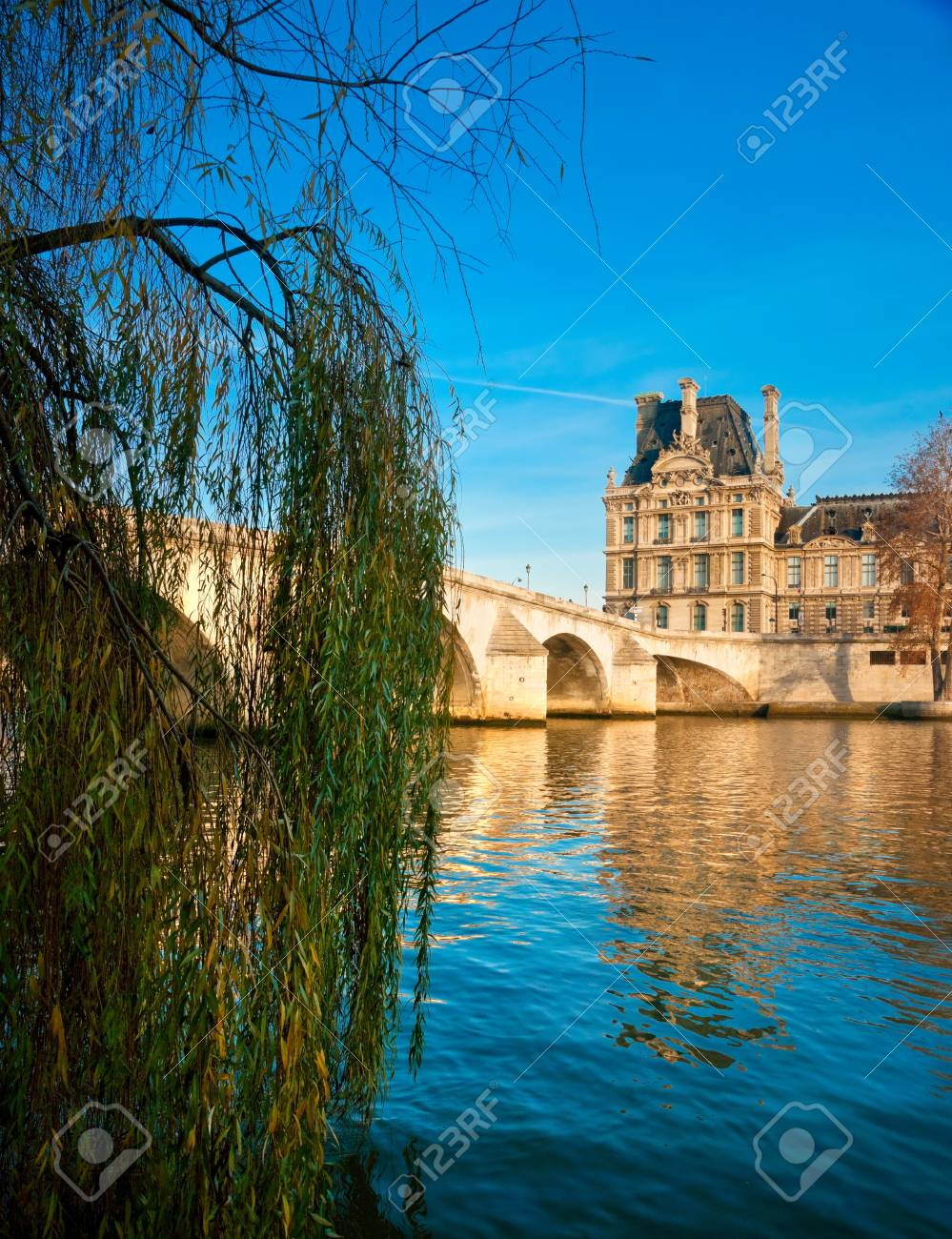 View of the Louvre Museum and Pont Royal, Paris - France Stock Photo - 17118614