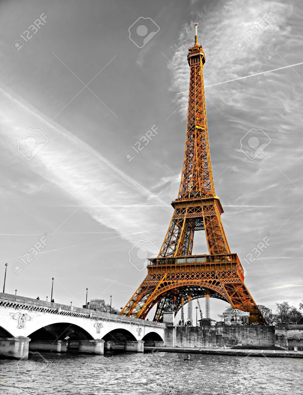 View of the eiffel tower at sunrise paris stock photo picture view of the eiffel tower at sunrise paris stock photo 17914032 jeuxipadfo Images
