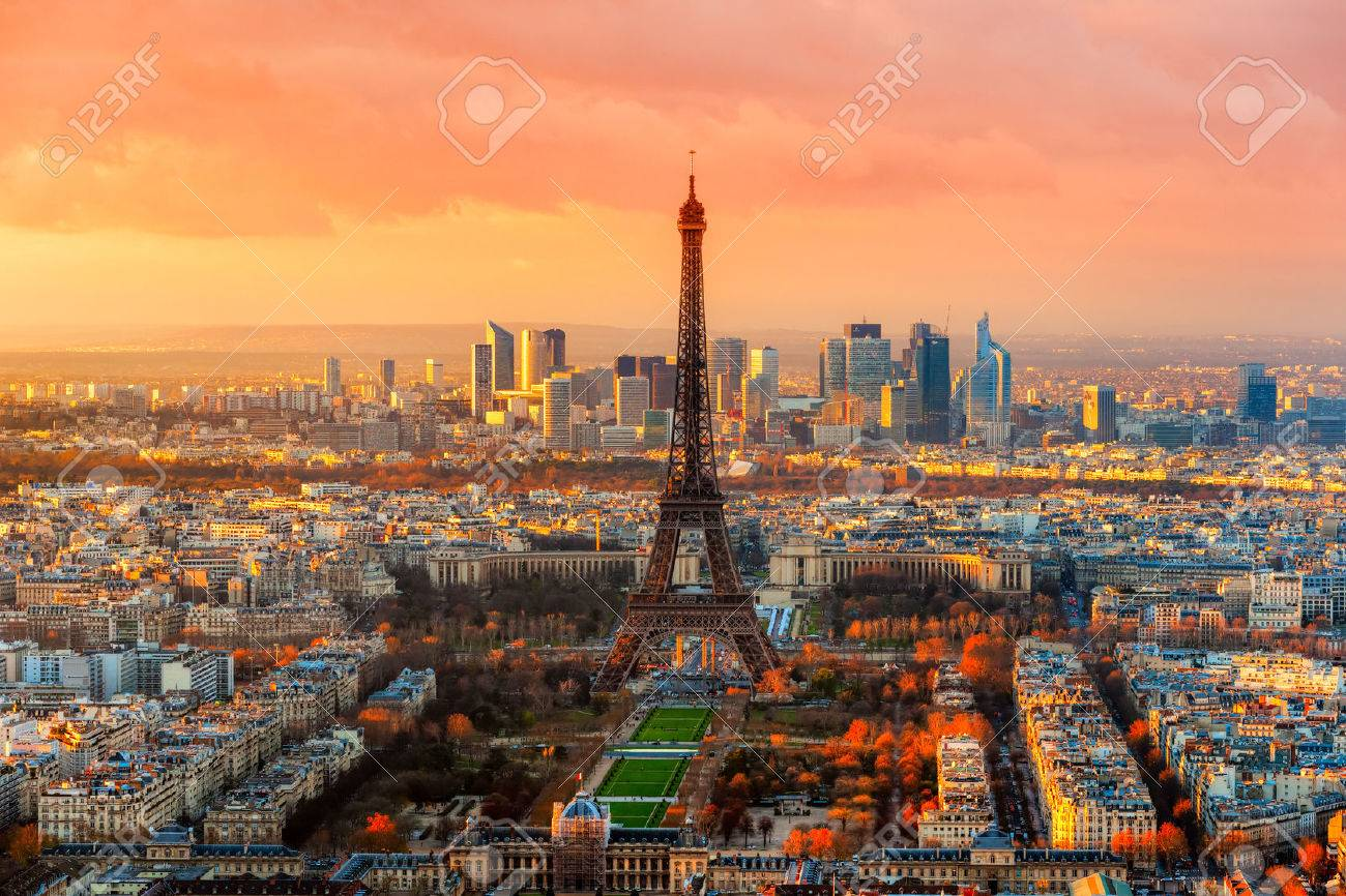 Wide angle view of Paris at twilight. France. - 36470447