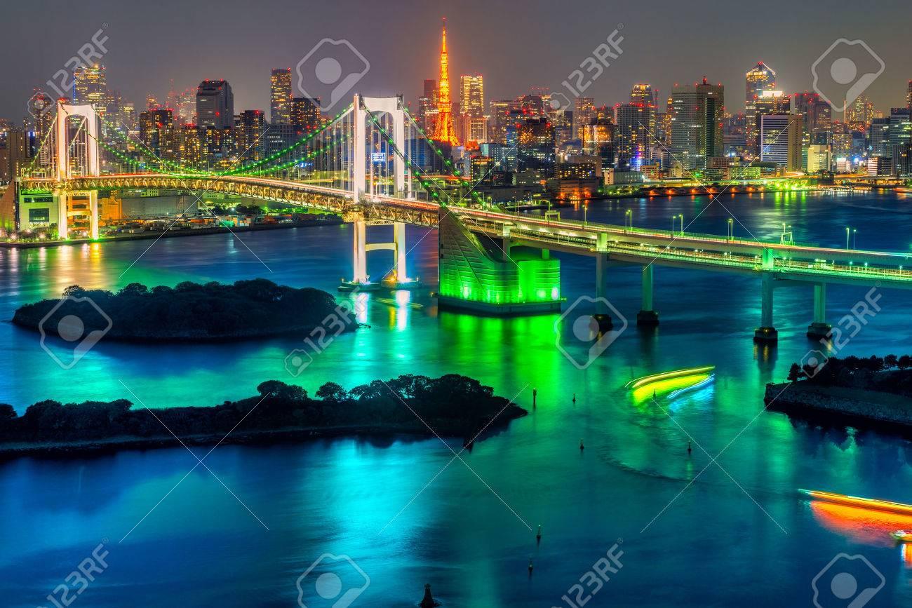 Tokyo skyline with Tokyo tower and rainbow bridge. - 36970369