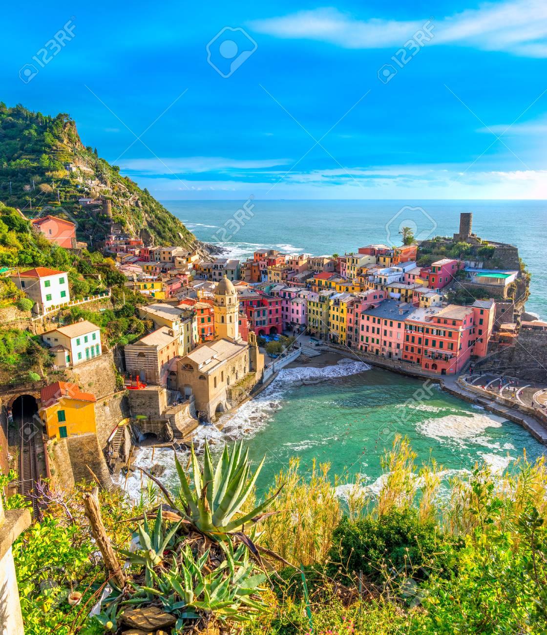 Vernazza fishing village, seascape in Five lands, Cinque Terre National Park, Liguria, Italy. - 71896348