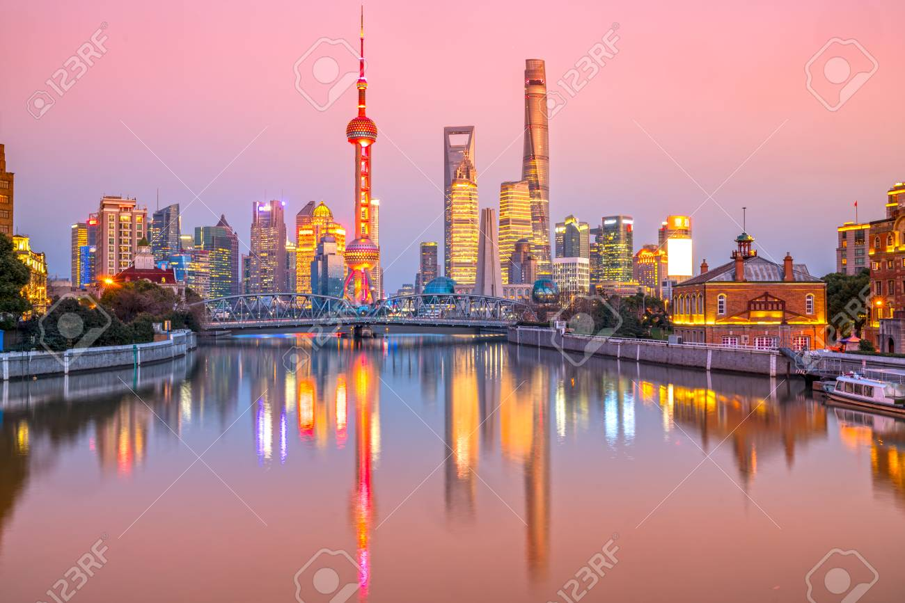 Shanghai City Skyline View Of The Skyscrapers Of Pudong And Stock