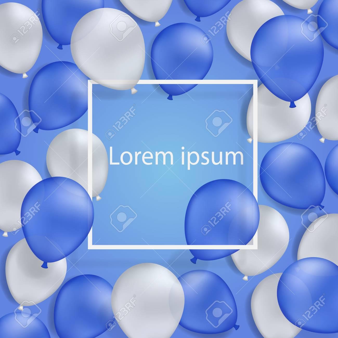 Weißer Und Blauer Hintergrund Des Ballons Mit Weißem Rahmen. Sie ...