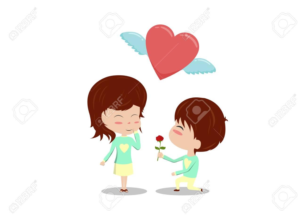 Dessin Anime Amour Couple Homme S Agenouiller Et Donner Rose A Femme