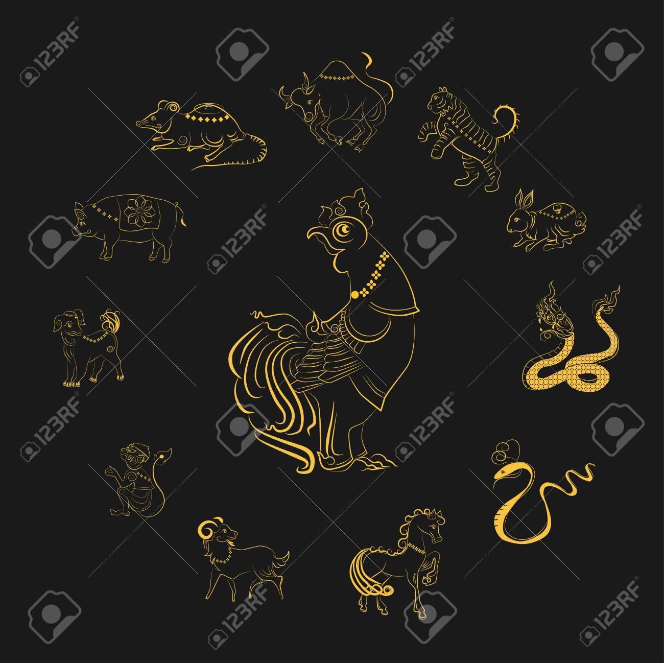 Calendario Zodiacale Cinese.12 Animali Dello Zodiaco Cinese Basati Sulla Credenza Del Popolo Asiatico Questo E L Anno Che Rappresenta Il Destino E Lo Stile Di Vita I Simboli