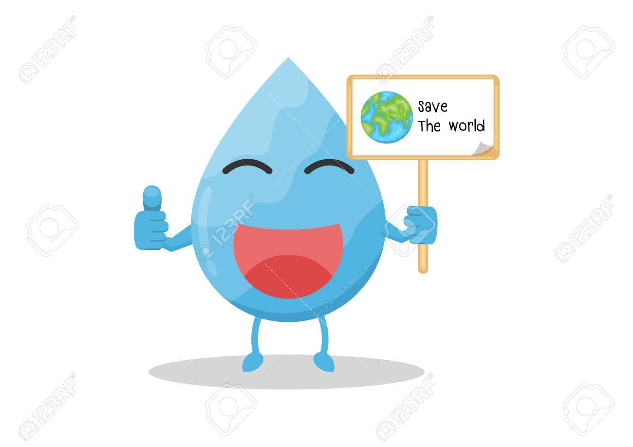 Vector Cartoon Water Drop Hold Wood Sign Save Worldaning Save