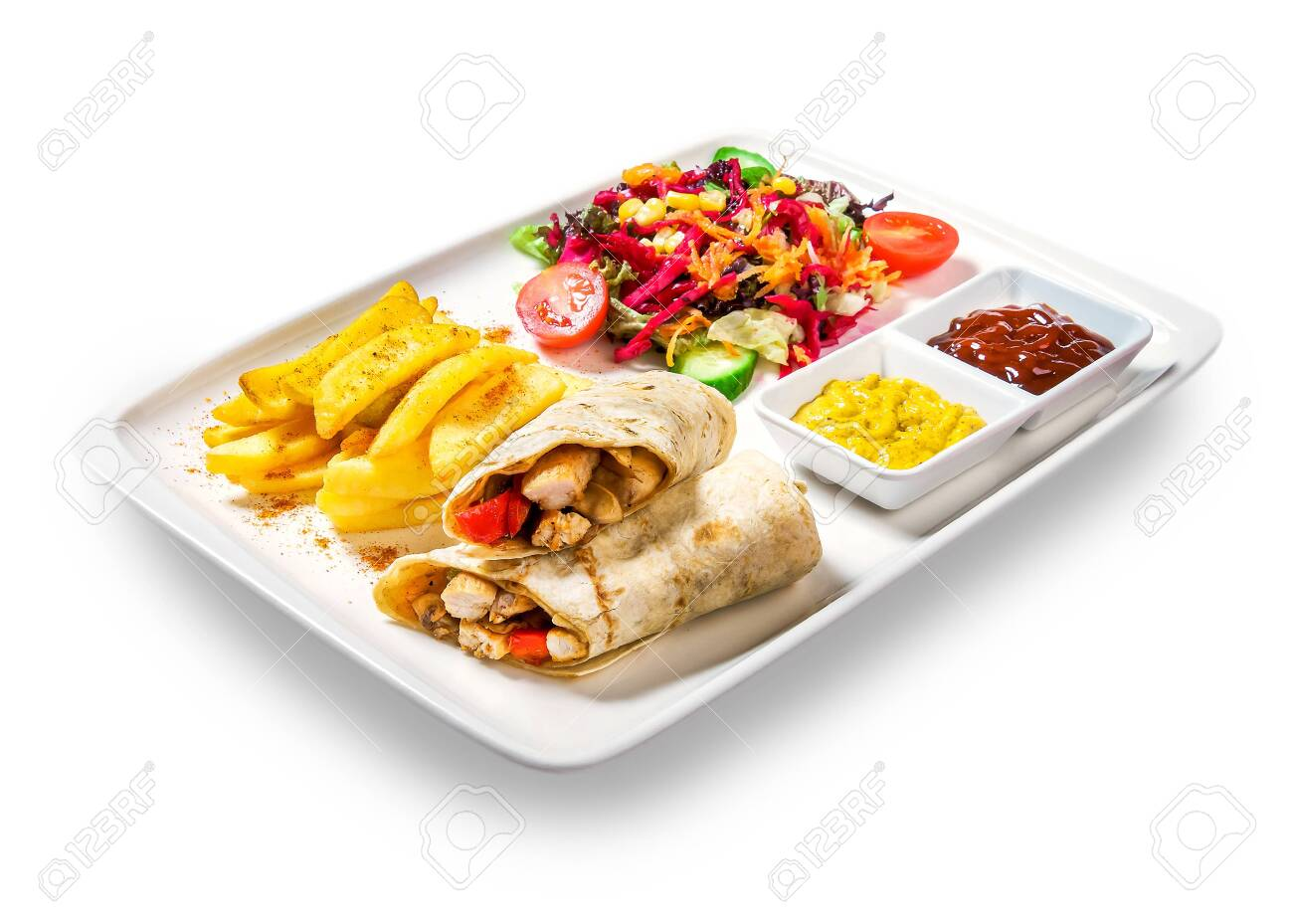 sandwiches (rolls with meat) with fries, vegetables and sauce in plate on white background - 120934483