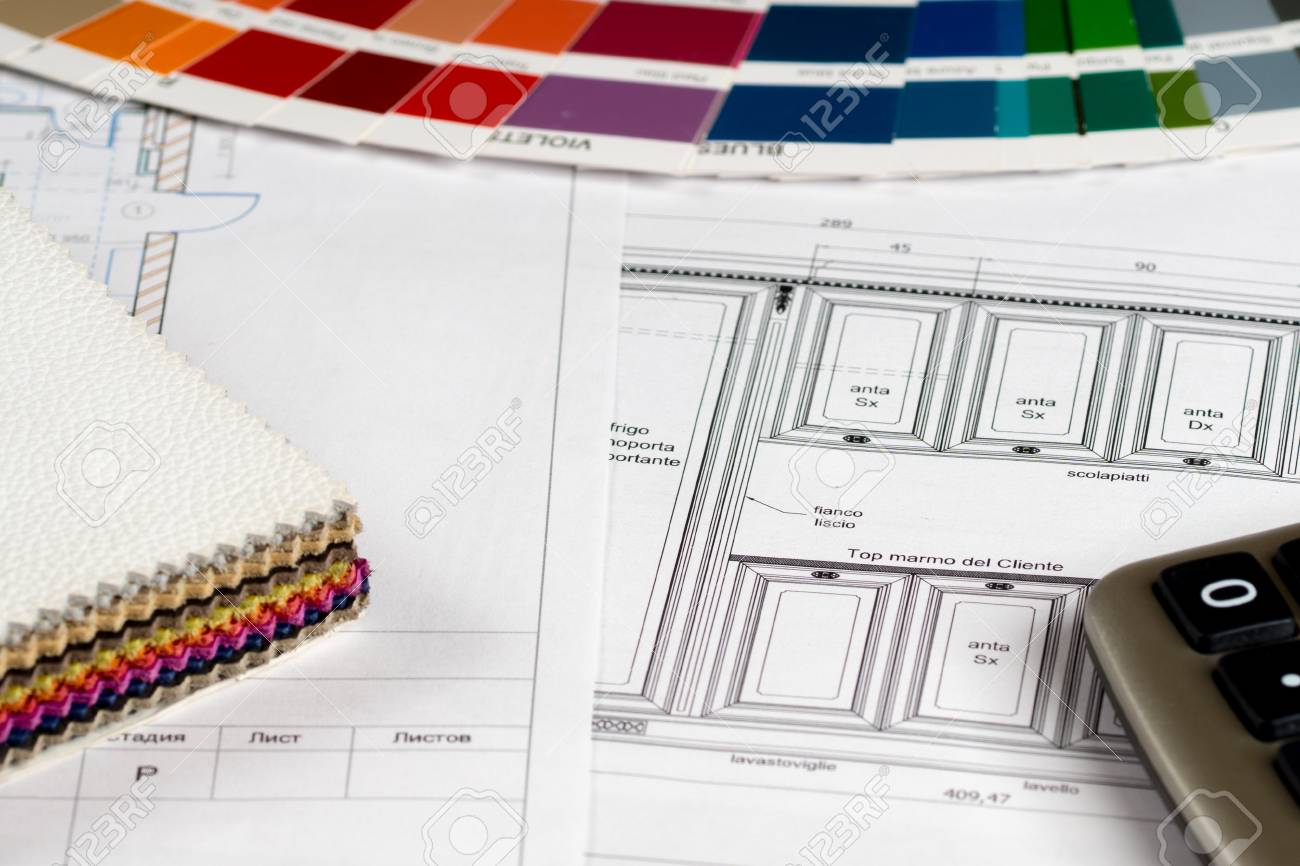 Interior Design Concept Kitchen Sketch With Color And Leather