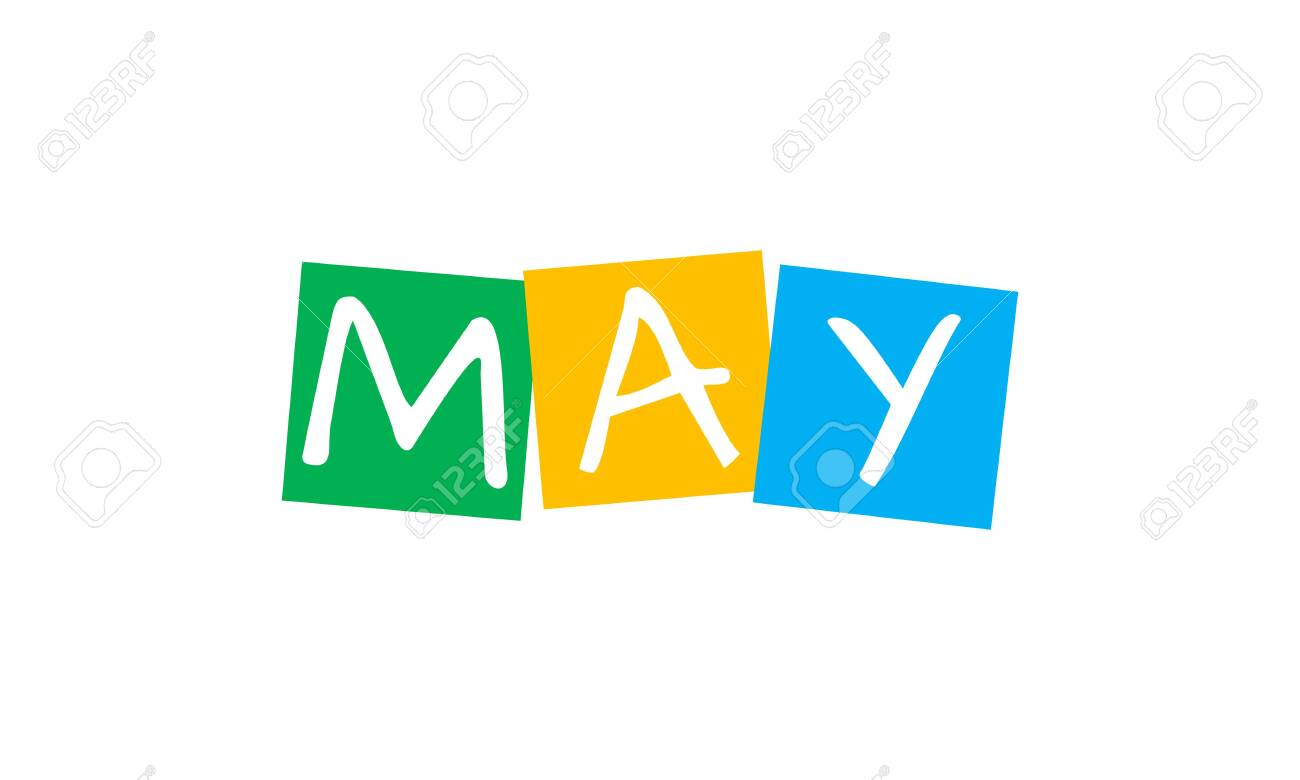 may, text in colorful rotated squares - 146016656
