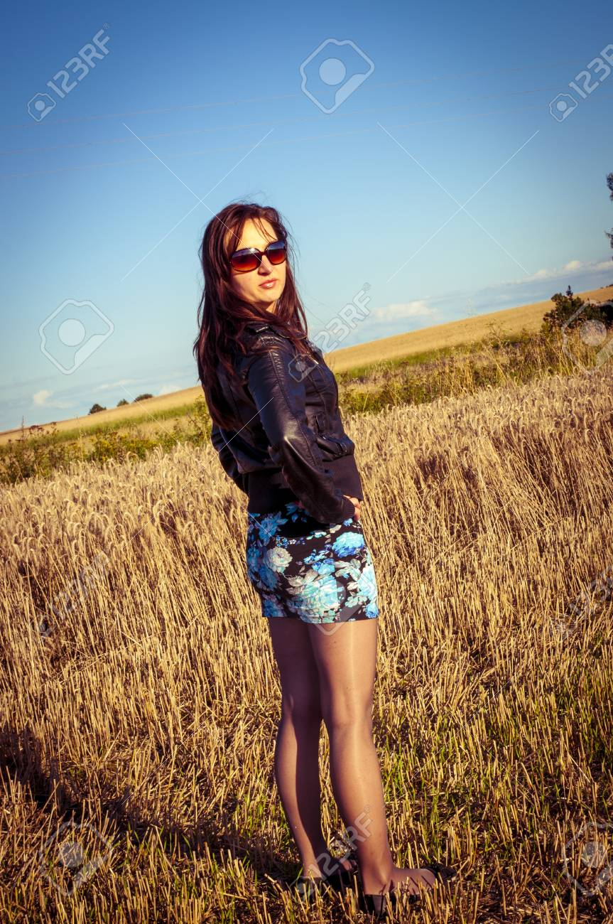 An image of brunette girl portrait in the field Stock Photo - 16216463