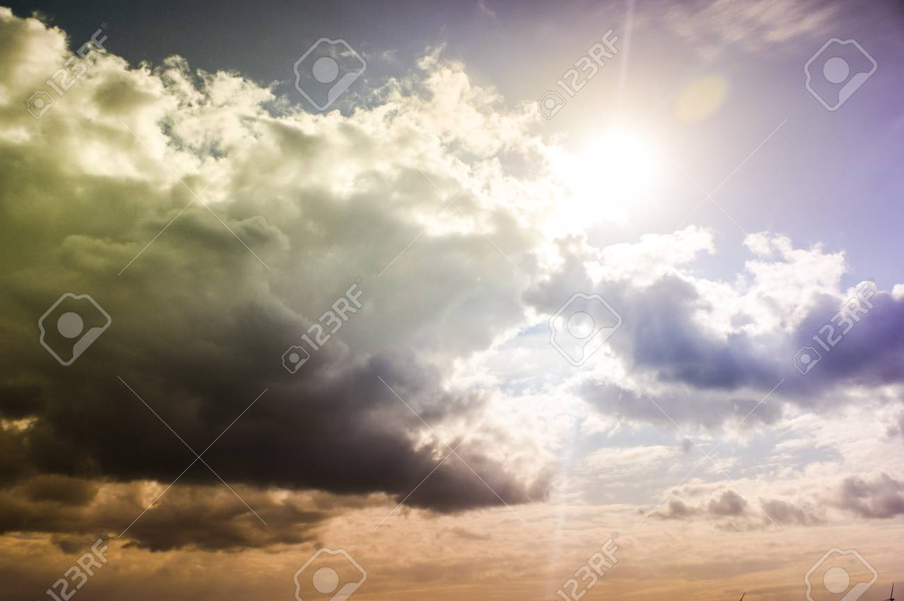 An image of Dark sky with storm clouds during sunset Stock Photo - 16917416