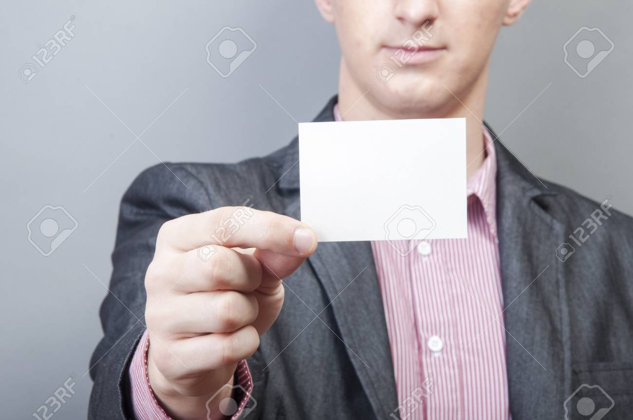 An image of businessmen holding blank card Stock Photo - 17287457