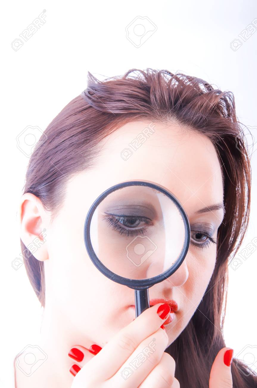 An image of Women with magnifying glass over her lips Stock Photo - 17449474