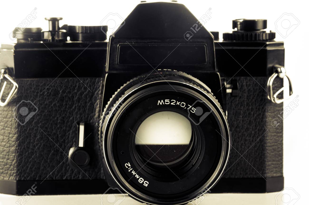 An image of old analog camera on white Stock Photo - 18893655