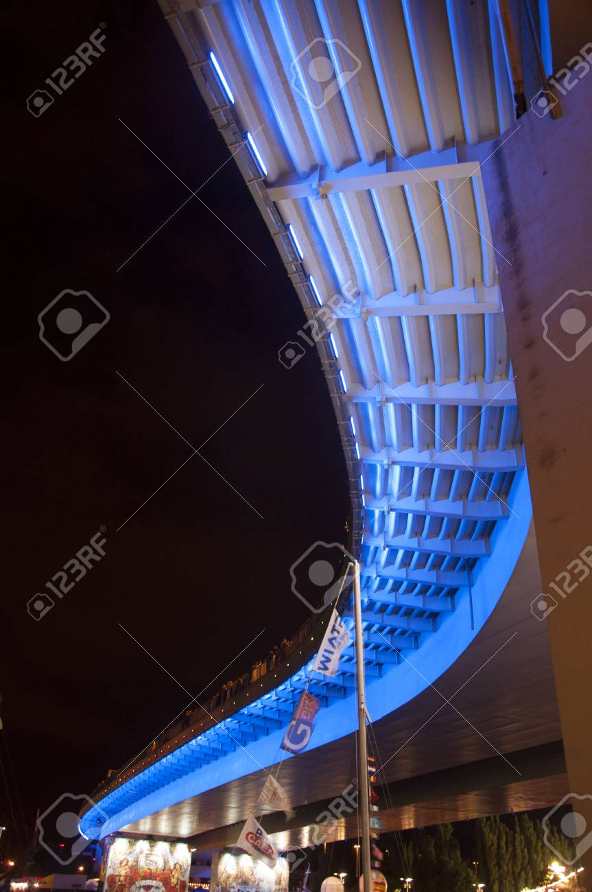 an image of bridge illuminated at night by the river Stock Photo - 22459565