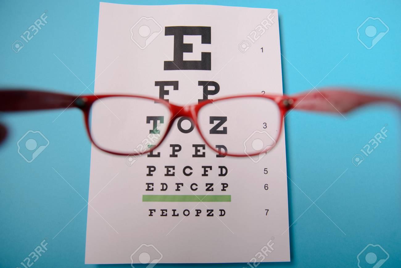 Vue rapprochée de lunettes se trouvant sur le tableau de test snellen