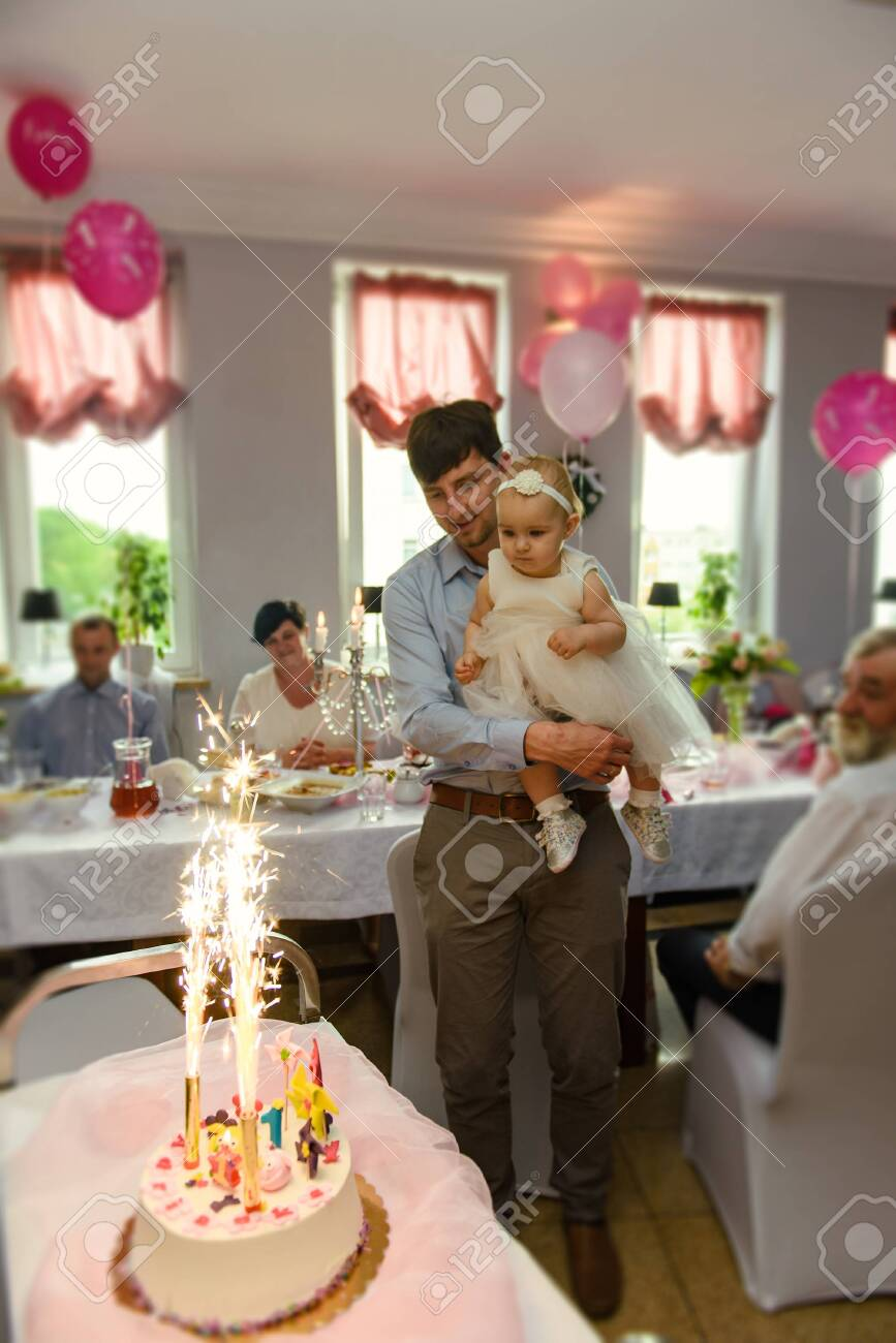 Wondrous Baby Girl 1 Year Old Eating Birthday Cake In Room Birthday Party Funny Birthday Cards Online Barepcheapnameinfo