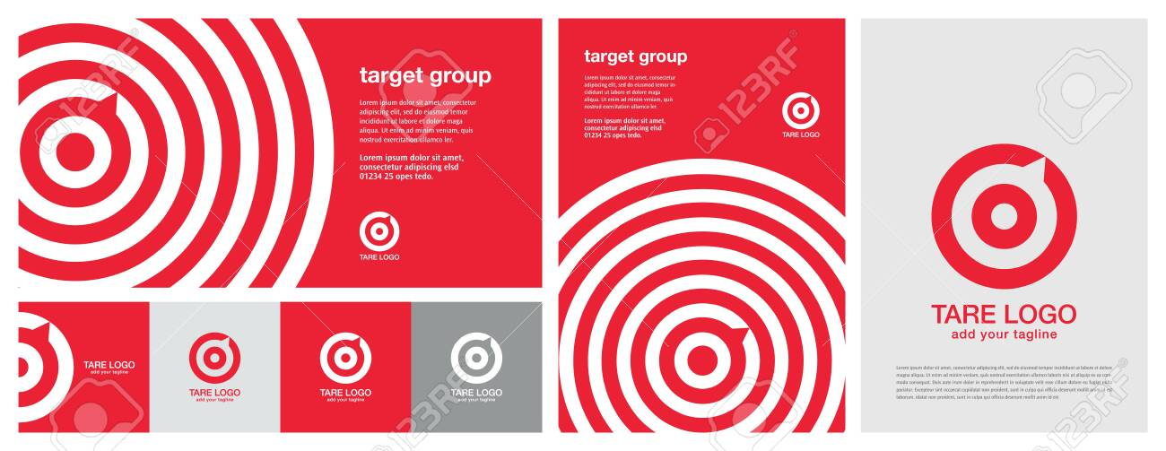 Target design with multiple colors, horizontal & vertical banner design & a print advertise template design. Red Banner design. Red aim, arrow, compass, speech bubble, Idea concept, perfect hit, winner, target goal icon. Corporate identity set. All in one - 137131141