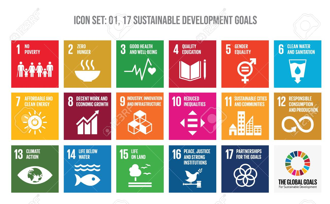 Colourful icon set of The Global Goals. Corporate social responsibility. Sustainable Development Goals - the United Nations. - 150435779