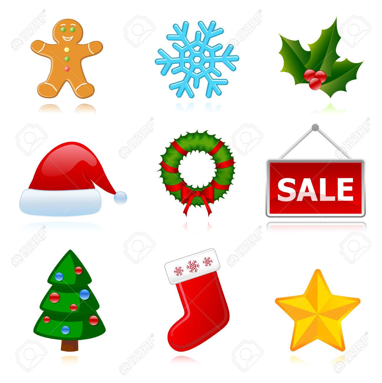 Collection of web holiday icons (Christmas, New Year). Vector Stock Vector - 8473980