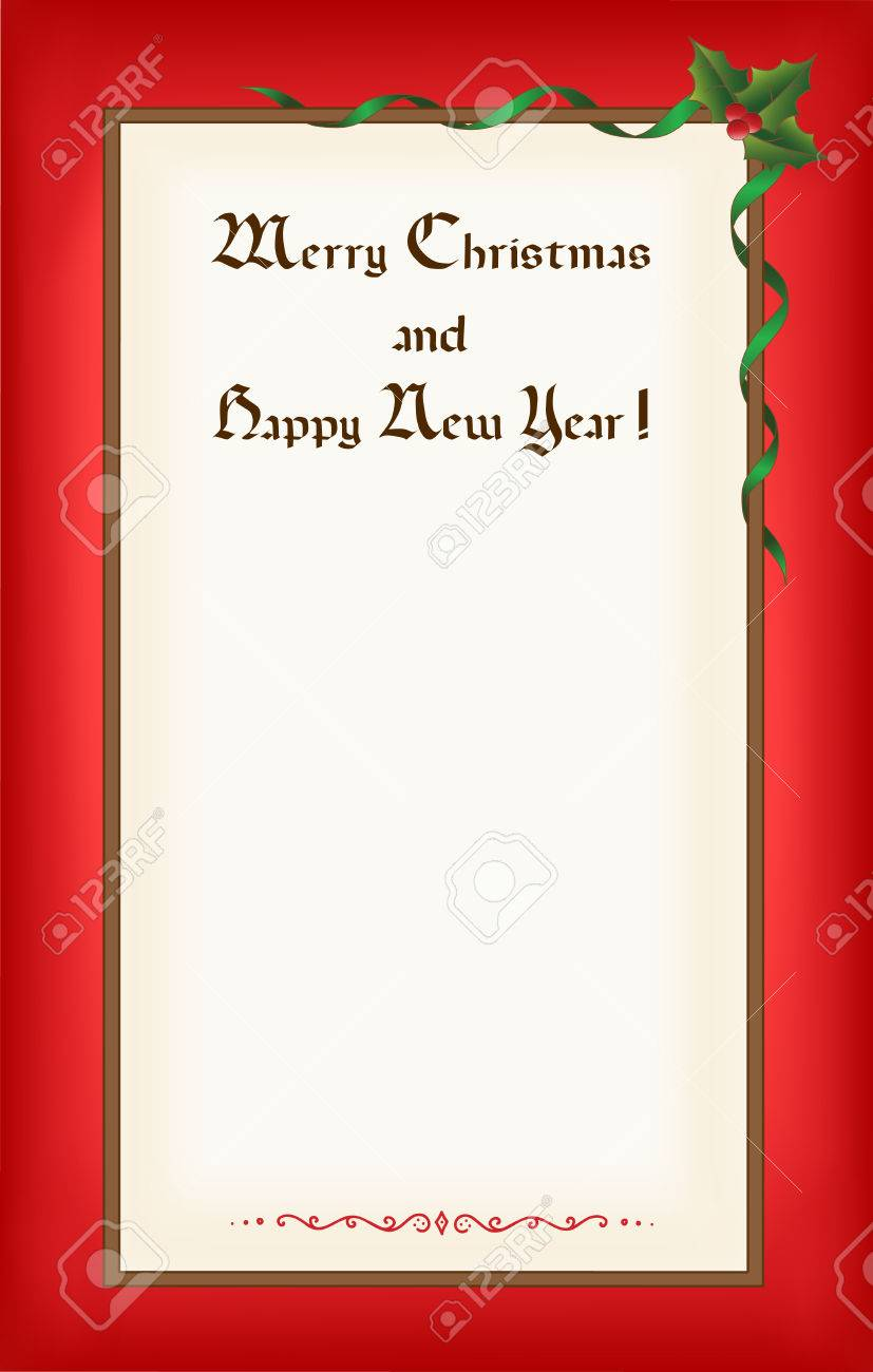 Old Christmas (New Year) blank with frame, congratulations and space for text. Eps10 - 8481354