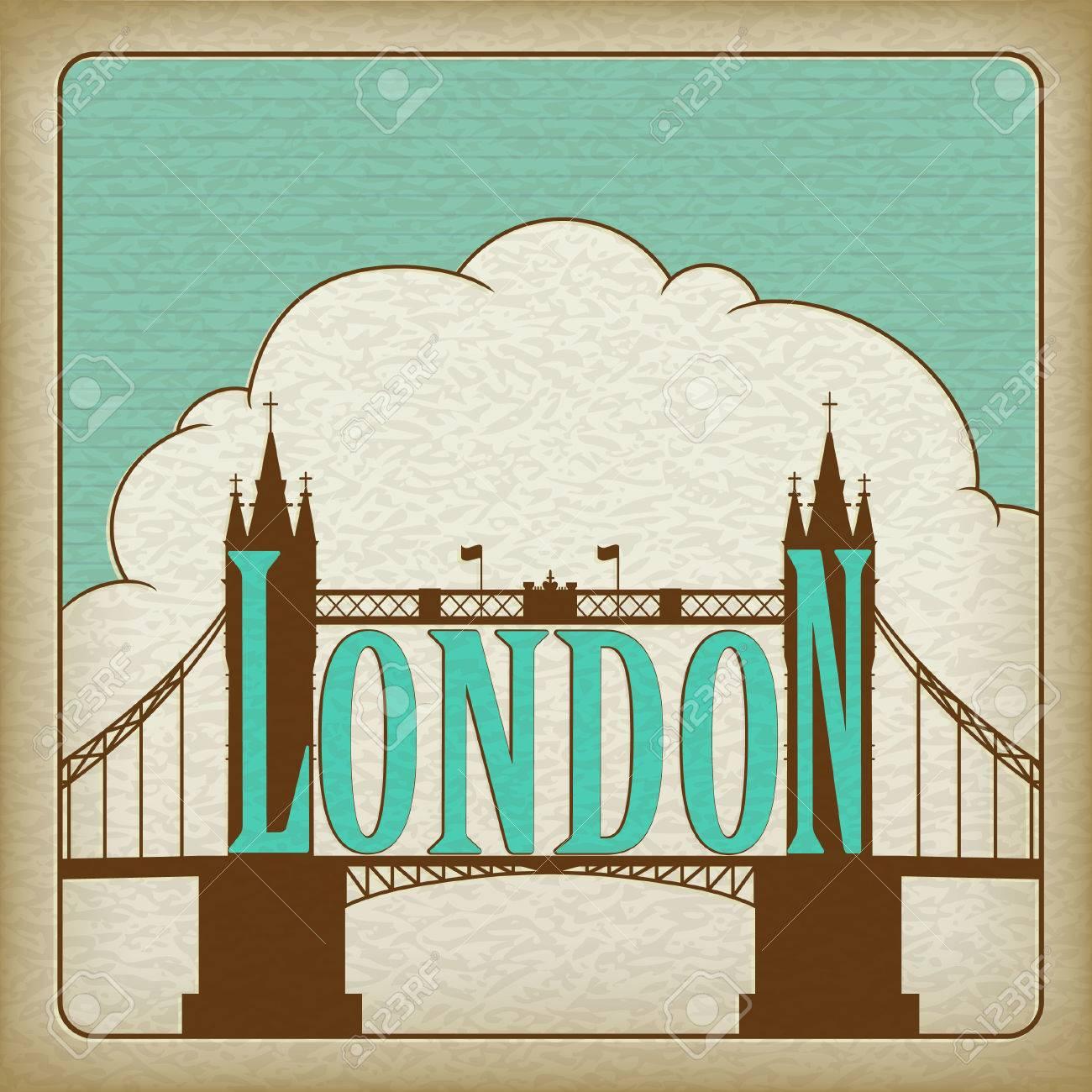 London Landmark, Tower Bridge. Old cardboard. Stock Vector - 8681324