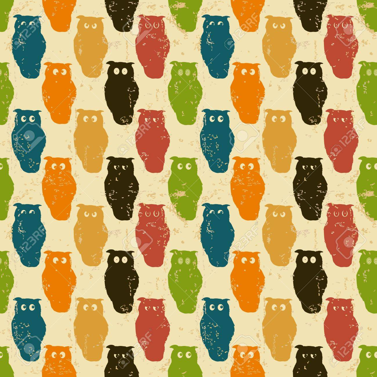 Halloween background. Retro styled owls in a seamless repeat pattern. Grunge. Stock Vector - 10680170