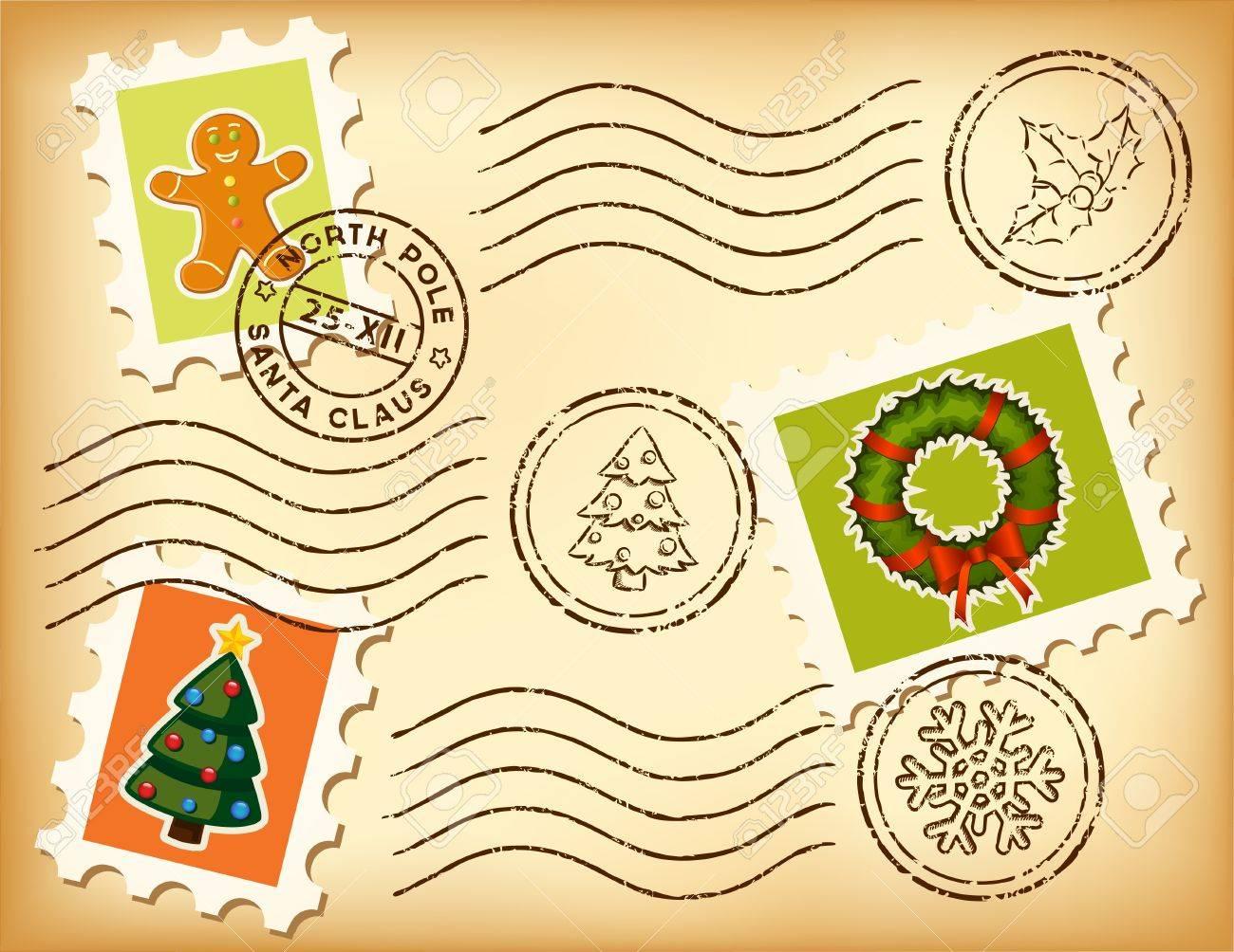 Vintage Christmas postage set on old paper. - 10894445