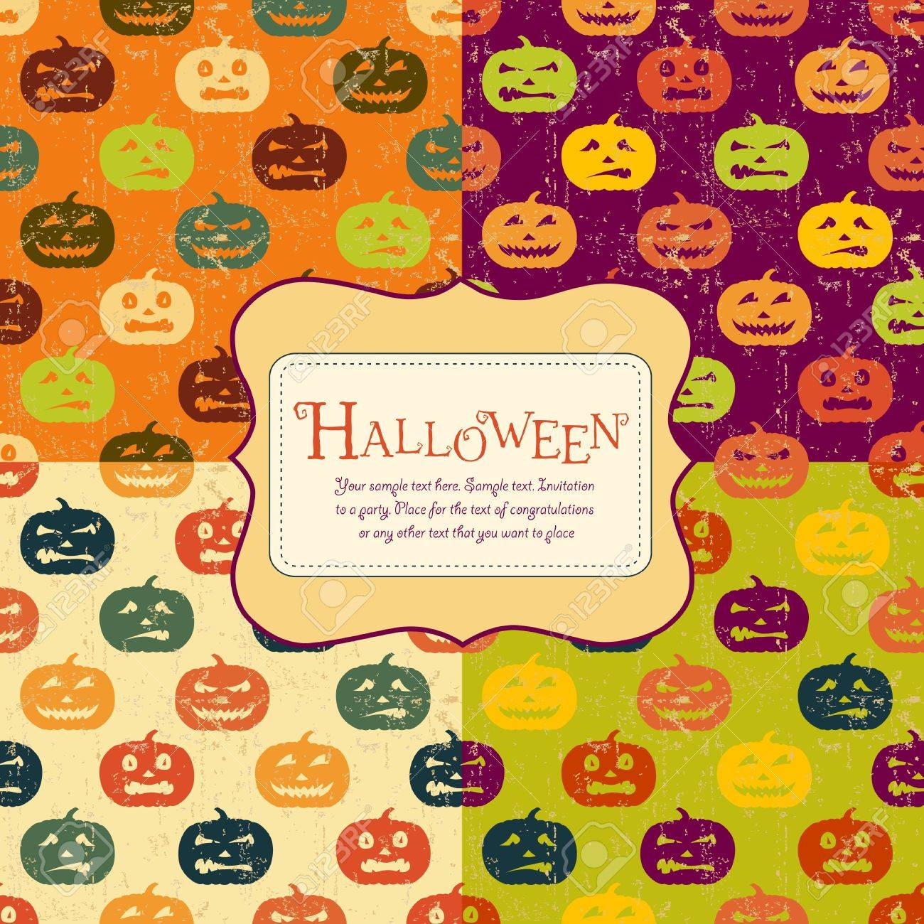 Halloween backgrounds set with tag. Retro pattern. Four colors. Stock Vector - 10970200