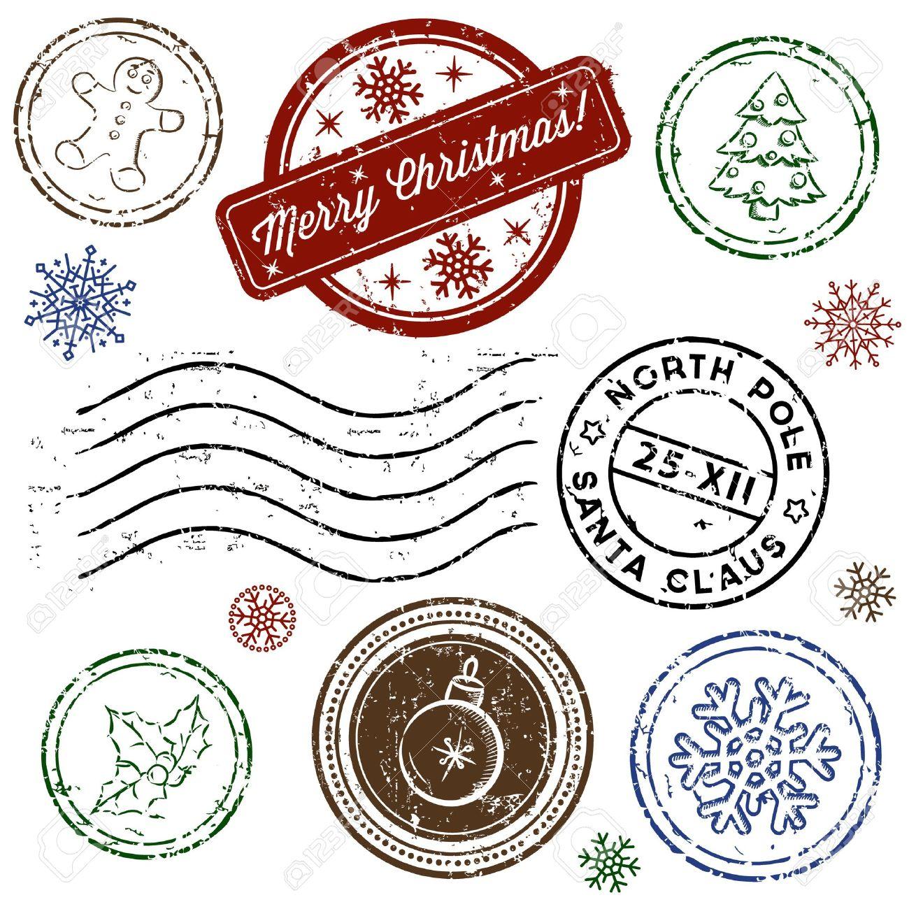 Weihnachts-Stempel Gesetzt Isoliert Auf Weiß. Vektor Lizenzfrei ...