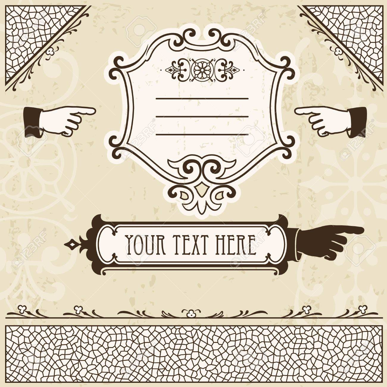 Vintage design elements with hands and other page decoration. - 12104093