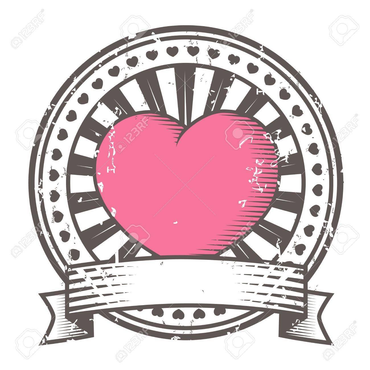 Grunge rubber stamp with heart Valentine s Day - 14386685